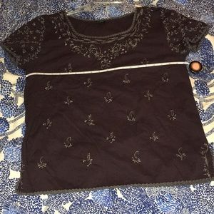 EUC J Crew embroidered top. Plum colored. Large.